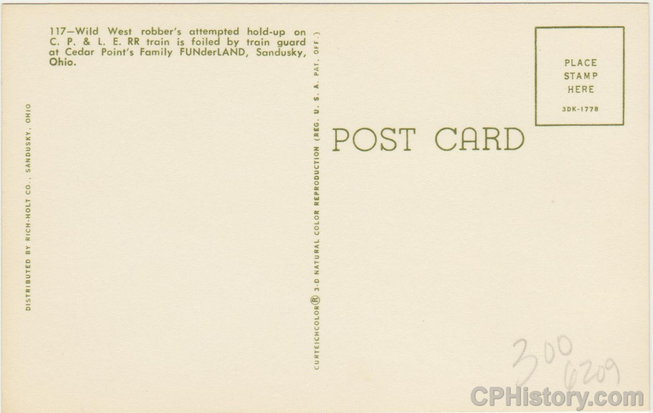 Cedar Point Railroad Albert - Wild West - Postcard - Back.jpg