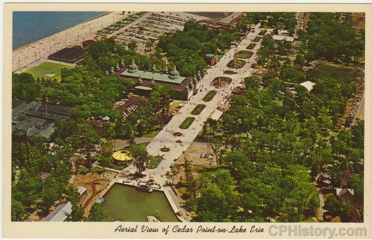 Aerial View of Cedar Point on Lake Erie - Postcard - Front.jpg