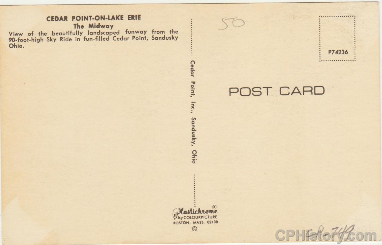 Cedar Point on Lake Erie The Midway - Postcard - Back.jpg