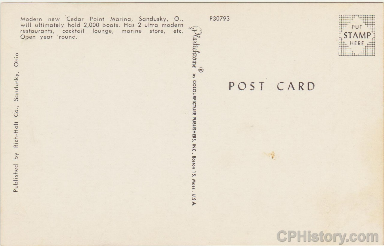 Cedar Point Marina 1959 - Postcard - Back.jpg