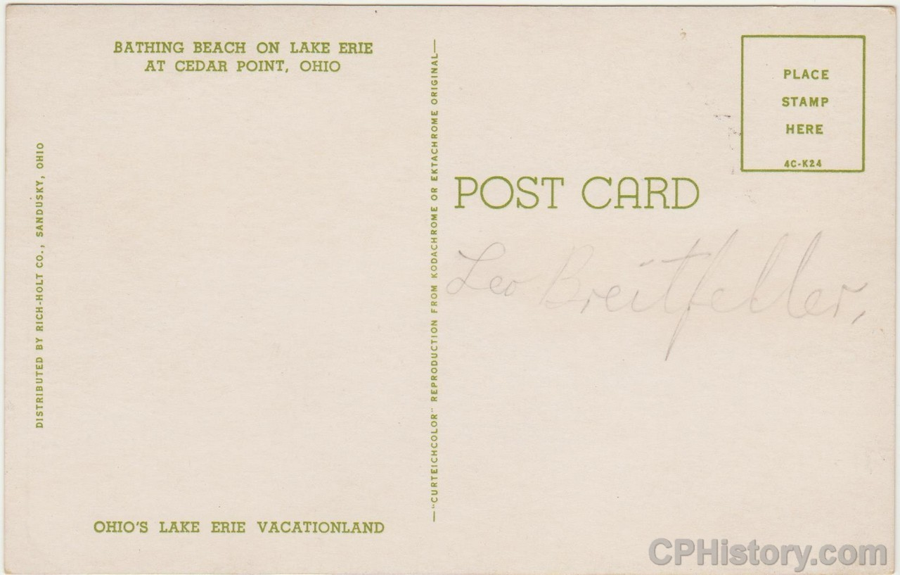Bathing Beach on Lake Erie at Cedar Point - Postcard - Back.jpg